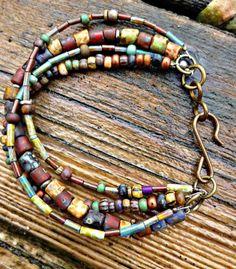 Bohemian bracelet.Czech glass seed bead, earthone multi strand jewelry | mckeejewelrydesigns - Jewelry on ArtFire