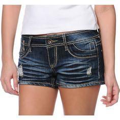 YMI Patty Dark Wash Denim Shorts