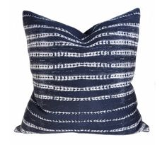 Camino, Indigo Pillow – Tonic Living: An indigo blue pillow with white stripes in a bohemian, organic sort of way. Perfect for tossing in your pillow mix in your living room or bedroom. Size: x Modern Throw Pillows, Throw Cushions, Blue Pillows, Accent Pillows, Patio Pillows, Decor Pillows, Decorative Pillows, Coastal Living Rooms, Living Room Interior