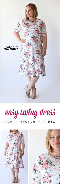 Sewing For Beginners Easy Learn how to make this easy to sew swing dress (perfect for summer!) using a free tee shirt pattern. - How to make an easy swing dress using a free tee shirt pattern. How to sew a women's summer dress. Sewing Patterns Free, Free Sewing, Clothing Patterns, Dress Patterns, Shirt Patterns, Pattern Sewing, Free Pattern, Crochet Patterns, Pattern Fabric