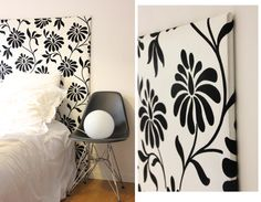 wallpaper and headboard + Eames – regardsetmaisons Source by regardsmaisons Beautiful Bedrooms, Diy Headboards, Home Staging, Home Decor Decals, Home Bedroom, Cozy House, Cosy Bedroom, Bedroom Diy, Home Deco