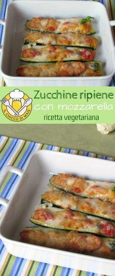 Zucchine ripiene con mozzarella, un secondo vegetariano appetitoso e leggero, cotto in forno. Scopri la ricetta passo passo: https://blog.giallozafferano.it/ilchiccodimais/zucchine-ripiene-con-mozzarella-ricetta-vegetariana/ #foodporn #vegetarian #zucchini