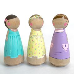 "Trio of  3 1/2"" Peg Doll Friends // (Three) 3 1/2"" girl peg dolls // pretty peg dolls // wooden dolls // 3 peg dolls by PegandPlum on Etsy https://www.etsy.com/listing/249550180/trio-of-3-12-peg-doll-friends-three-3-12"