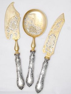 French Silver Ice or desert serving set