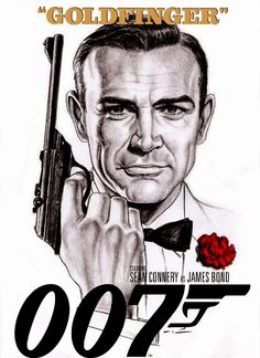 Goldfinger artwork by Patricio Carbajal. James Bond Actors, James Bond Movie Posters, James Bond Movies, James Bond Party, George Lazenby, Old Movie Stars, Roger Moore, Bond Girls, Sean Connery