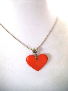 Organic Orange Heart Necklace with Silver by TerriJeansAdornments