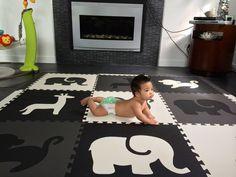 "Amazon.com - SoftTiles Safari Animals Foam Play Mat w/sloped borders (Black, Gray, White) Large Play Mat 78"" x 78"" #playroom #kidsdecor #blackandwhite"