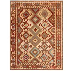 Herat Oriental Afghan Hand-woven Wool Kilim (5' x 6'6) (Afghan Hand-woven Kilim Area Rug), Red Burgundy (Natural Fiber, Geometric)