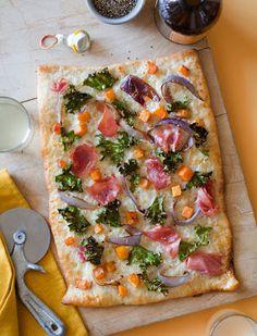 Prosciutto Kale and Butternut Squash Pizza