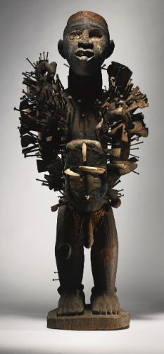 Kongo-Yombe Nail Power Figure, Democratic Republic of the Congo Height: 36 inches cm) African Masks, African Art, Art Tribal, Occult Symbols, Art Premier, African Culture, African Fabric, Republic Of The Congo, Oeuvre D'art
