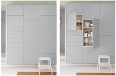 Smart Storage solution, multiple configurations, and its Ikea! Kitchen Ikea, Kitchen Interior, Kitchen Design, Ikea Wall Cabinets, Wall Cabinets Living Room, Hacks Ikea, Wall Storage, Smart Storage, Beautiful Kitchens