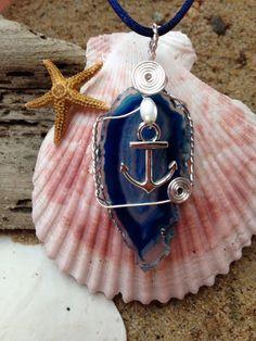 454 Anchor on blue agate $20