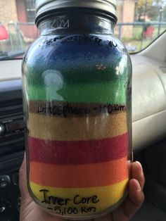 Use sand and a mason jar for an easy science project to identify Earth's layers.
