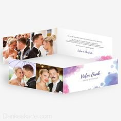 Dankeskarte Tintenkleckse 21 x 10 cm - Dankeskarte.com Place Cards, Polaroid Film, Wedding Inspiration, Place Card Holders, Dyes, Lilac, Thanks Card, Cards