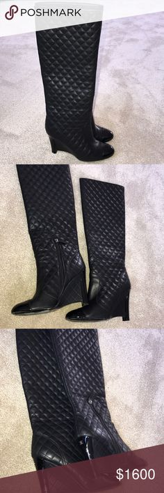 Chanel Boots They're thigh high black Chanel boots. CHANEL Shoes Heeled Boots
