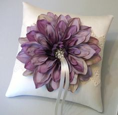 Purple Dahlia with Eyelet Lace on an Ivory by WhiteThistleBridal, $50.00