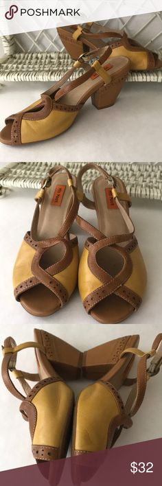 7cabb8d0b5a Mix Mooz chunky heels Leather uppers with buckle around ankle. Peep toes.  Chunky heel