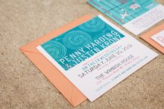 Actual Invitation Suite: Salmon, teal, mint and peach  Penny & Justin   Custom Invitations