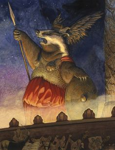 'Valkyrie' by Chris Dunn Illustration. A badger opera singer dressed as a Valkyrie on a theatre stage. A mouse orchestra perform in the pit at the front of the stage.  Whimsical watercolour animal art.