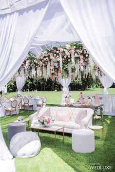 A Floral-Filled Wedding Luncheon - WedLuxe Magazine Romantic Wedding Receptions, Outdoor Wedding Decorations, Bridal Shower Decorations, Romantic Weddings, Wedding Rustic, Wedding Lounge, Tent Wedding, Tea Party Wedding, Wedding Dresses