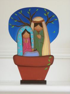 Nativity Scene from Venezuela, wooden hand painted Nativity Creche, Christmas Nativity Scene, Nativity Sets, True Meaning Of Christmas, Painted Rocks Kids, O Holy Night, Pintura Country, Wooden Hand, Teaching Art