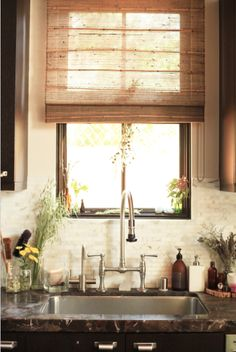 off white backsplash tile, dark wood cabinets, woven shade Bamboo Shades, Ideas Hogar, Window Coverings, Dark Wood, Home Kitchens, Home Accessories, Kitchen Remodel, Living Spaces, Sweet Home