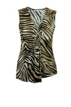 Bluzka paski zebra brąz z aplikacją Semper