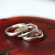 rustic silver stack rings on Etsy, $110.00