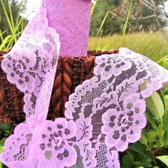 """Lovely Purple Pink Floral Galloon Lace Trim 5¼"""" wide 