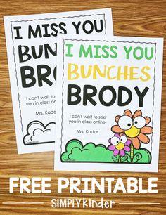I Miss You Bunches Free Printable - Simply Kinder Free Preschool, Kindergarten Classroom, Owl Classroom, Kindergarten Activities, Classroom Decor, New Teachers, Elementary Teacher, Elementary Education, Google Classroom