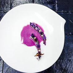 Mackerel, salted violet potato, and red cabbage gazpacho by @stam_halfmike #TheArtOfPlating