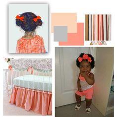 African American Baby Nursery Decor Peach Colors
