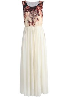 Vestido gasa largo floral sin manga-crudo 21.44