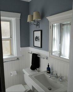 1920s vintage bathroom - Benjamin Moore 'sweatshirt gray'.