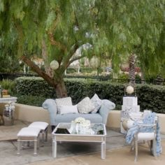Make an outdoor cocktail hour feel more cozy with plush couches and chairs!