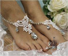 ROMANCE barefoot sandals - white   Our barefoot sandals are lovingly handmade for your dream wedding by Catherine Cole Studio .  PIN and save for later!