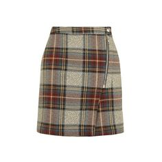 Topshop Check a-Line Skirt ($45) ❤ liked on Polyvore featuring skirts, multi, tartan skirt, checkered skirt, checked skirt, tartan plaid skirt and brown plaid skirt