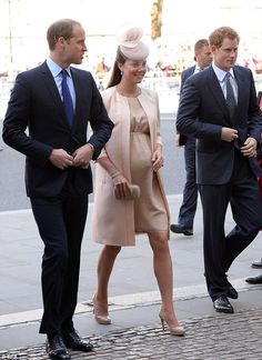 Business Royal trio: Prince William, the Duke of Cambridge (L), Catherine, Duchess of Cambridge (C) and Prince Harry arrive at Westminster Abbey