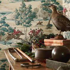 The much loved 'Hunting Scene' has featured in the Sanderson Classic Linens series for many years but is now available as a stunning wallpaper. Perfect for classic or villa style homes. Available in three colour ways. Classic Wallpaper, Retro Wallpaper, Pattern Wallpaper, Hunting Wallpaper, Horse Wallpaper, Scenic Wallpaper, Equestrian Decor, Equestrian Style, Tally Ho