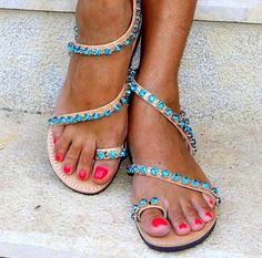 Sandals decorated with Original Swarovski by ElinaLinardaki