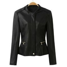 Stylish Stand Collar Solid Color Zipper Embellished Faux Leather Women's Jacket