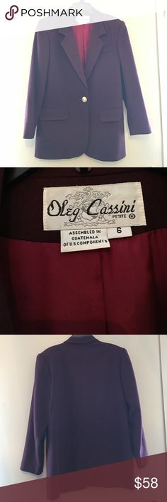 Oleg Cassini Vintage Blazer A vintage burgundy Blazer by Ole Cassini. Size 6 Petite. Material: Shell: 100% Wool. Lining: 100% Acetate. Care: Dry Clean Only. Great Blazer For Fall🍂🍁 Oleg Cassini Jackets & Coats Blazers