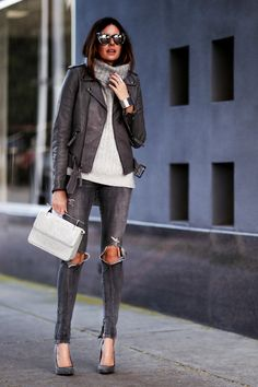 grey on grey, distressed denim, turtleneck sweater, mirrored sunglasses