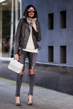 grey on grey, distressed denim, turtleneck sweater, mirrored sunglasses