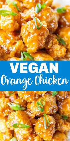 The is the absolute BEST Vegan Orange Chicken Recipe! The crispy cauliflower has amazing texture and the homemade orange sauce is super flavorful! Kid and meat loving husband approved! Easy to make and much healthier than the original recipe! #orangechicken #vegan #veganorangechicken #dinner #kidfriendly Tofu Recipes, Entree Recipes, Sauce Recipes, Vegetarian Recipes, Chicken Recipes, Healthy Recipes, Vegan Orange Chicken Recipe, Orange Sauce Recipe, Asian Diet