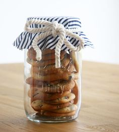 Display your baked goods in a glass mason jar.