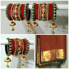 Indian Bridal Bangles - Red, Emerald Green & Gold - Set of 34 silk thread bridal bangles for both hands - Designed to match outfit color Source by rumahawkins outfits Chuda Bangles, Kundan Bangles, Silk Bangles, Bridal Bangles, Silk Thread Bangles Design, Thread Jewellery, Tatting Jewelry, Bangles Making, Silver Jewellery Indian