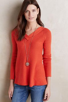 Have- Cute sweater with a deep v (mid shoulder blade) in the back-awesome detail    Double-V Pullover - anthropologie.com