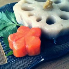 蓮根と人参の煮物 白だし餡かけ  lotus root and a carrot