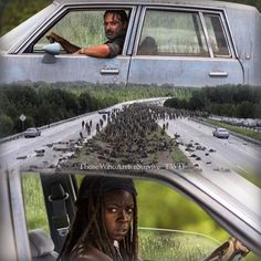 "Rick and Michonne! The Walking Dead S07 E09 ""Rock in the Road."" Season 7, Episode 9."